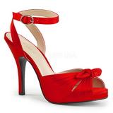 Vermelho Cetim 12,5 cm EVE-01 numeros grandes sandálias mulher