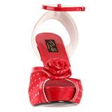 Vermelho Cetim 12 cm PINUP retro vintage BETTIE-06 Plataforma Salto Agulha