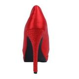 Vermelho Cetim 13,5 cm BELLA-12R Pedra Cristal Plataforma Scarpin Calçados