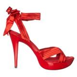 Vermelho Cetim 13 cm COCKTAIL-568 Sandálias Salto Agulha