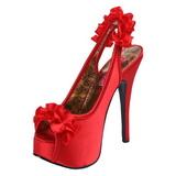 Vermelho Cetim 14,5 cm Burlesque TEEZE-56 Sandálias Salto Agulha