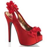Vermelho Cetim 14,5 cm TEEZE-56 Sandálias Salto Agulha