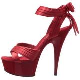 Vermelho Cetim 15 cm DELIGHT-668 sandálias para noite de gala