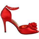 Vermelho Cetim 9,5 cm ROSA-02 Sandália Feminina Salto Alto