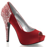 Vermelho Cristal 13 cm LOLITA-08 sapato scarpin para noite de gala
