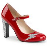 Vermelho Envernizado 10 cm QUEEN-02 numeros grandes scarpin mulher