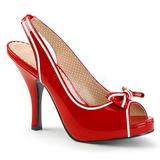 Vermelho Envernizado 11,5 cm PINUP-10 numeros grandes sandálias mulher