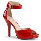 Vermelho Envernizado 12,5 cm EVE-02 numeros grandes sandálias mulher