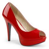 Vermelho Envernizado 13,5 cm CHLOE-01 numeros grandes scarpin mulher