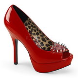 Vermelho Envernizado 13,5 cm PIXIE-17 Goticas Sapatos Scarpin