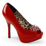 Vermelho Envernizado 13 cm PIXIE-17 calçados salto alto com pregos