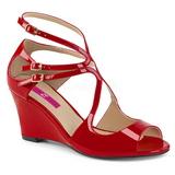 Vermelho Envernizado 7,5 cm KIMBERLY-04 numeros grandes sandálias mulher