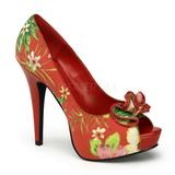 Vermelho Flores 13 cm LOLITA-11 calçados femininos com salto alto