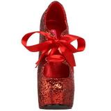 Vermelho Glitter 14,5 cm Burlesque TEEZE-10G Platform Scarpin Sapatos