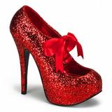 Vermelho Glitter 14,5 cm TEEZE-10G Platform Scarpin Sapatos