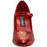 Vermelho Glitter 7,5 cm GLINDA-50G Scarpin Mary Jane