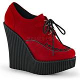 Vermelho Imitação Couro CREEPER-302 sapatos creepers cunha altos