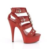 Vermelho Imitação de couro 15 cm DELIGHT-658 sapatos pleaser de salto alto