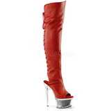 Vermelho Imitação de couro 16,5 cm ILLUSION-3019 bota plataforma acima do joelho