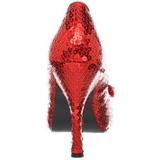 Vermelho Lantejoulas 11,5 cm OZ-06 sapato scarpin para noite de festa