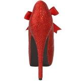 Vermelho Pedra Cristal 14,5 cm Burlesque TEEZE-04R Plataforma Scarpin Salto Alto