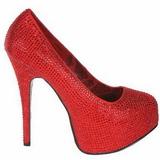 Vermelho Pedra Cristal 14,5 cm Burlesque TEEZE-06R Plataforma Scarpin Salto Alto