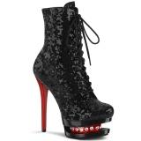 Vermelho Preto 15,5 cm BLONDIE-R-1020 botinha femininos com cadarco salto alto em lantejoulas