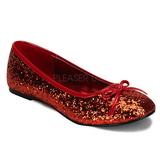 Vermelho STAR-16G brilho sapatas da bailarina mulher baixos altos