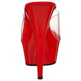 Vermelho Transparente 15,5 cm DELIGHT-601 Plataforma Tamancos Altos