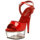 Vermelho Transparente 15 cm CAPTIVA-609 Plataforma Salto Agulha