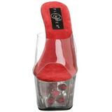 Vermelho Transparente 18 cm ADORE-701FL Plataforma Tamancos Altos