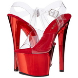 Vermelho Transparente 18 cm SKY-308 Plataforma Salto Agulha