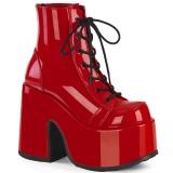 Vermelho Vegan 13 cm CAMEL-203 botinhas demonia plataforma