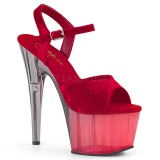 Vermelho Veludo 18 cm ADORE-709MCT sandálias pole dance
