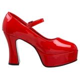 Vermelho Verniz 11 cm MARYJANE-50 Mary Jane Plataforma Scarpin Salto Alto