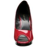 Vermelho Verniz 12 cm FLAIR-474 Plataforma Scarpin Salto Alto