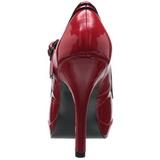 Vermelho Verniz 12 cm PINUP SECRET-15 Mary Jane Plataforma Scarpin Salto Alto