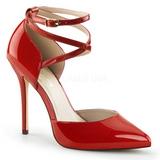 Vermelho Verniz 13 cm AMUSE-25 sapato scarpin para noite de gala