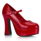Vermelho Verniz 13 cm DOLLY-50 Mary Jane Plataforma Scarpin Salto Alto