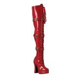 Vermelho Verniz 13 cm ELECTRA-3028 bota acima do joelho