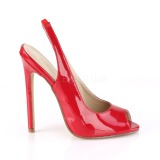 Vermelho Verniz 13 cm SEXY-08 Sapatos Scarpin Sling Back