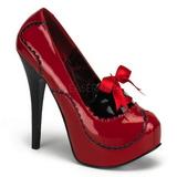 Vermelho Verniz 14,5 cm Burlesque BORDELLO TEEZE-01 Plataforma Scarpin Salto Alto