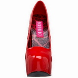 Vermelho Verniz 14,5 cm Burlesque BORDELLO TEEZE-06 Plataforma Scarpin Salto Alto