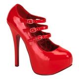 Vermelho Verniz 14,5 cm Burlesque TEEZE-05 calçados femininos com salto alto