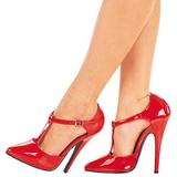 Vermelho Verniz 15 cm DOMINA-415 Sapatos Scarpin Femininos