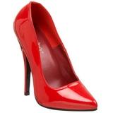 Vermelho Verniz 15 cm DOMINA-420 Sapatos Scarpin Salto Agulha