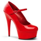 Vermelho Verniz 15 cm PLEASER DELIGHT-687 Plataforma Scarpin Salto Alto