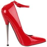 Vermelho Verniz 16 cm DAGGER-12 Sapatos Scarpin Stiletto Salto Agulha