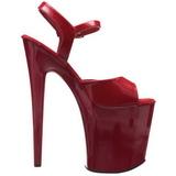 Vermelho Verniz 20 cm Pleaser FLAMINGO-809 Saltos Altos Plataforma