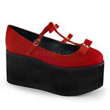 Vermelho lona 8 cm CLICK-08 sapatos de mulher góticos